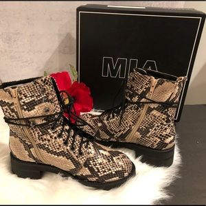 NWT MIA Beige Miki-S Ankle Combat Boot BNIB